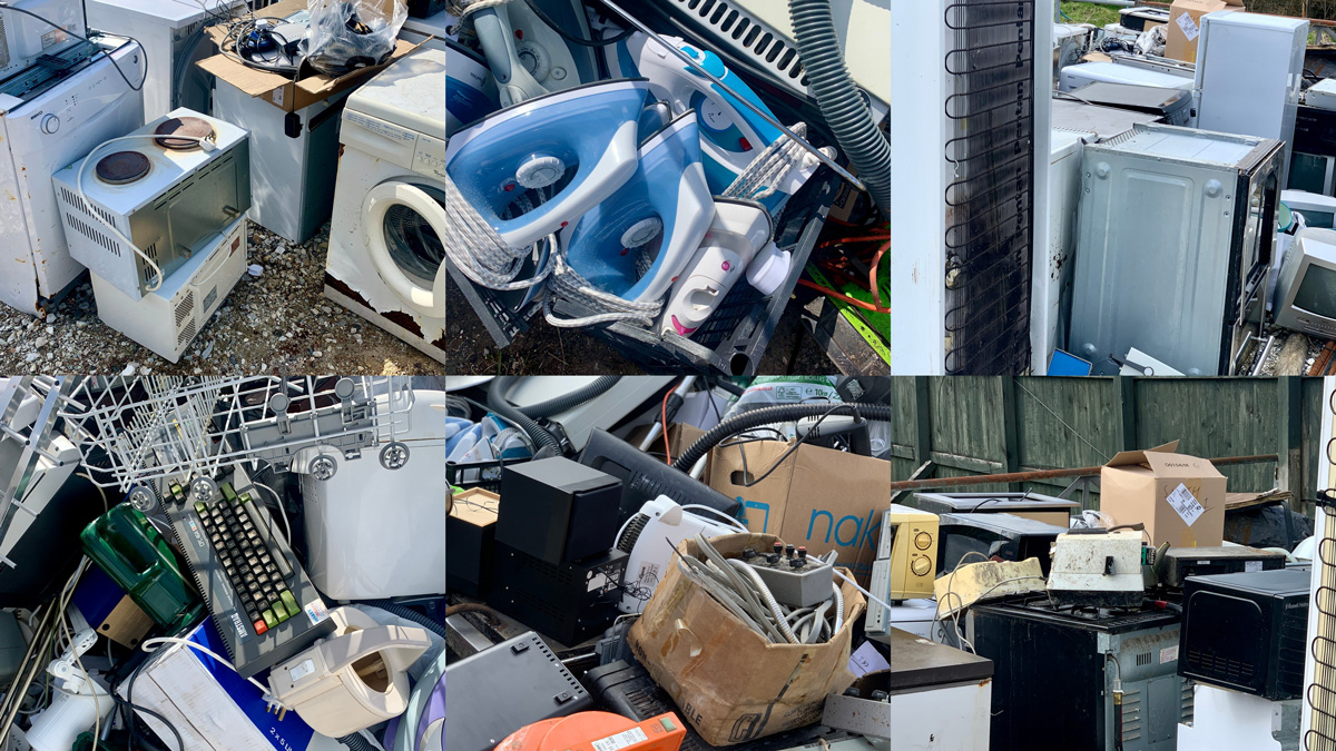 Collage of electrical waste