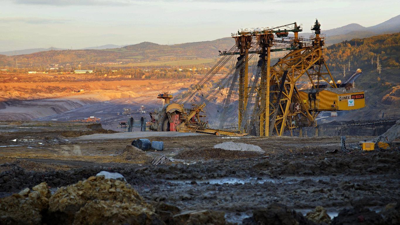 arid landscape with coal mining machinery